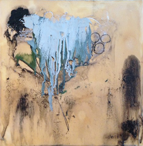Cheri Hoffman encaustic on wood panel Meltdown
