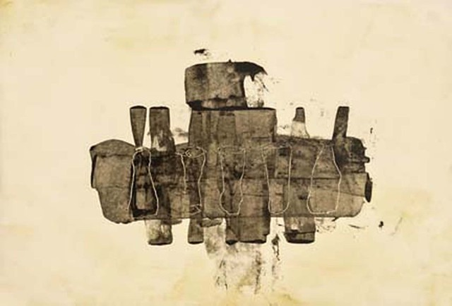 Cheri Hoffman oil and encaustic on rice paper Fragments