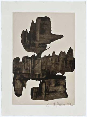 Cheri Hoffman oil and wax on paper Construct