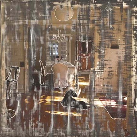 Cheri Hoffman photo encaustic and oil on panel Looking In