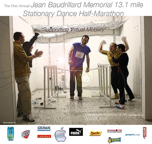 The First Annual Jean Baudrillard Memorial 13.1 Mile Stationary Dance Half Marathon (Promotional Poster)