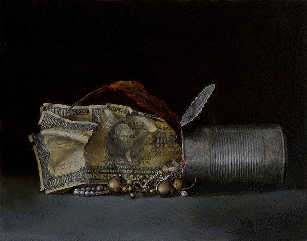 still life, realism, oil painting, classical art, figurative, money, jewelry, riches, tin can, poverty, classism