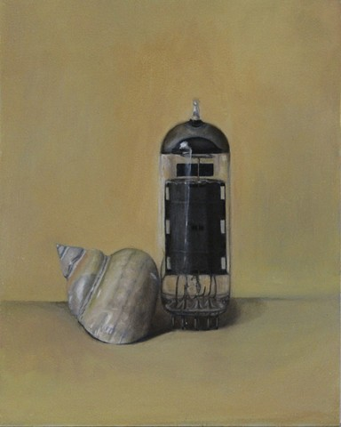 still life, realism, oil painting, classical art, figurative, sea shell, vacuum tube, glass