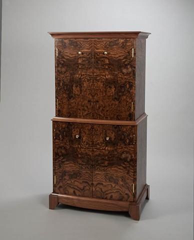 burl veneer cabinet
