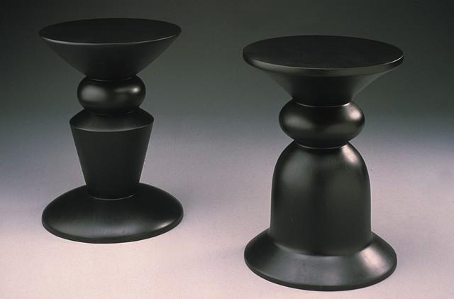 turned wood stools
