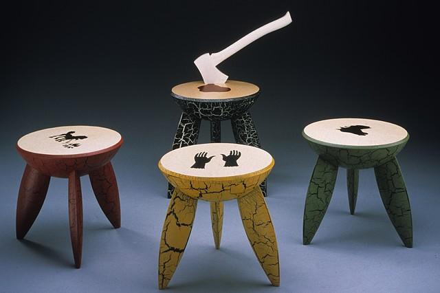wooden stools