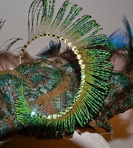 Hat Fascinator #3, Wearable art, detail
