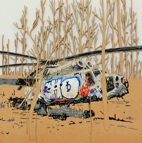 Graffitied helicopter matther spencer war scenes art urban