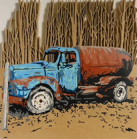 gas truck in woods art naive pop