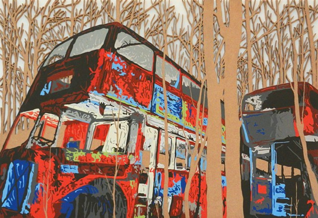 red buses cut out mdf matthew spencer