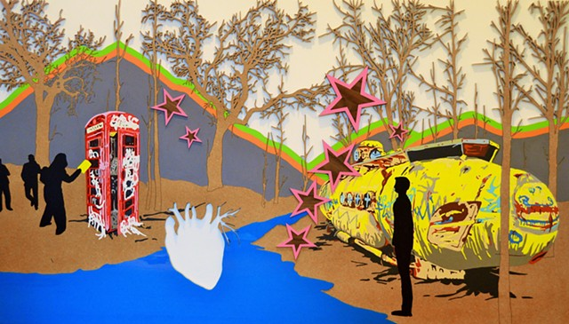yellow submarine beetles urban art