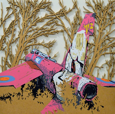 pink fighter jet urban art matthew spencer