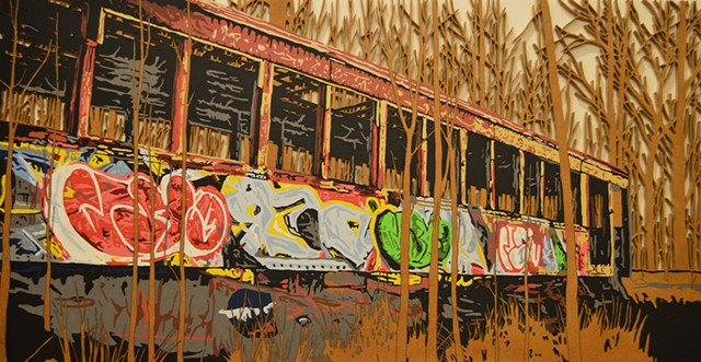 graffitied train carriage banksy