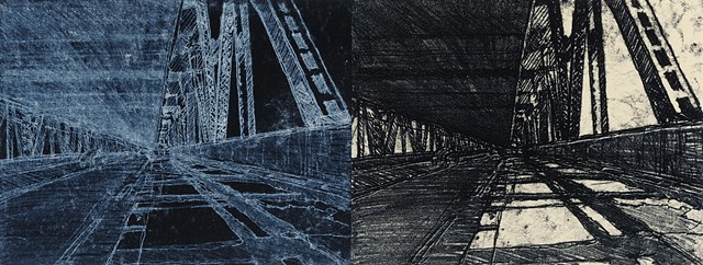 Trace Monotype print of San Francisco Oakland Bay Bridge with Chine Collé on Rives BFK printmaking paper by artist printmaker Debra Jewell