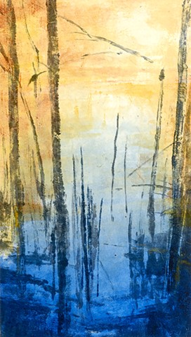 Monotype print of lake and forest reflections with Chine Collé on Rives BFK printmaking paper by artist printmaker Debra Jewell