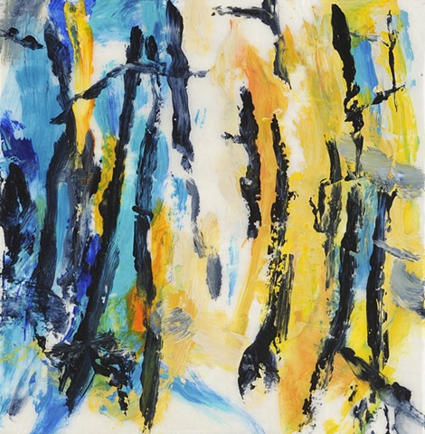 Acrylic painting of forest trees on handmade Japanese gampi paper by artist printmaker Debra Jewell