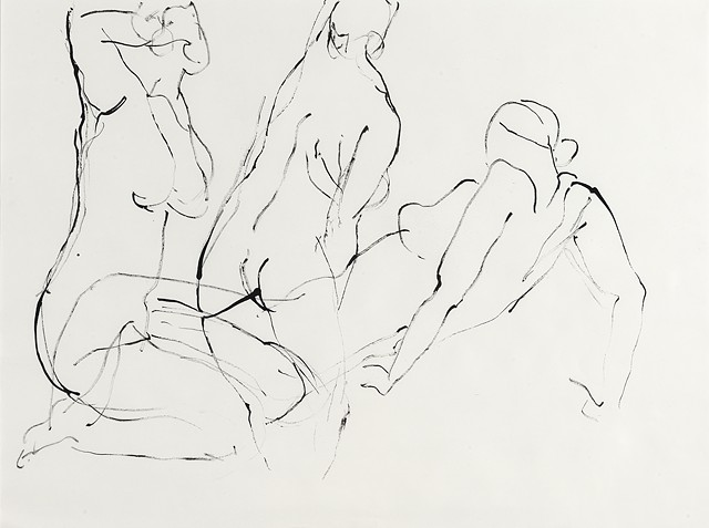 Sumi ink figure drawing on paper by artist printmaker Debra Jewell