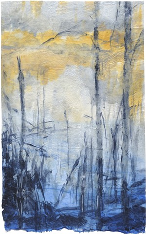 Acrylic painting of lake and forest reflections on handmade Japanese gampi paper by artist printmaker Debra Jewell