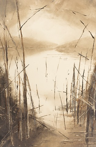 Monotype print of lake and forest reflections on Magnani Pescia printmaking paper by artist printmaker Debra Jewell