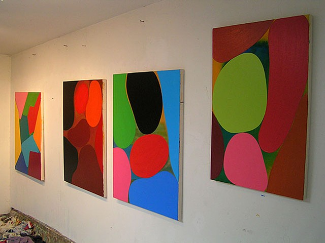 gary paller artwork on studio walls 4 abstractions in studio