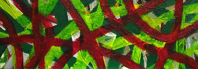 long green and red painting
