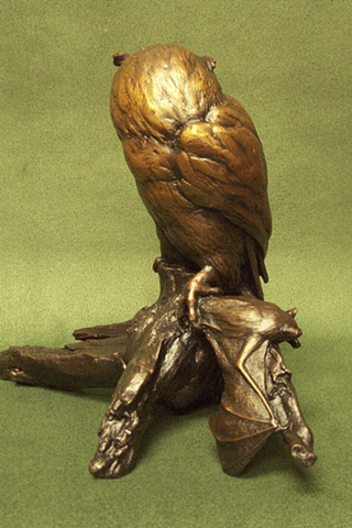 Michelle Post, art, bronze, sculpture, michelle post, owl, bat