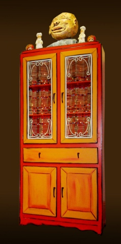 Orange Lighted Cabinet