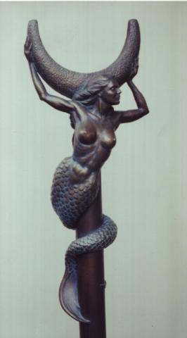 Michelle Post, art, bronze, mermaid, boom crutch, Highwater Bronze