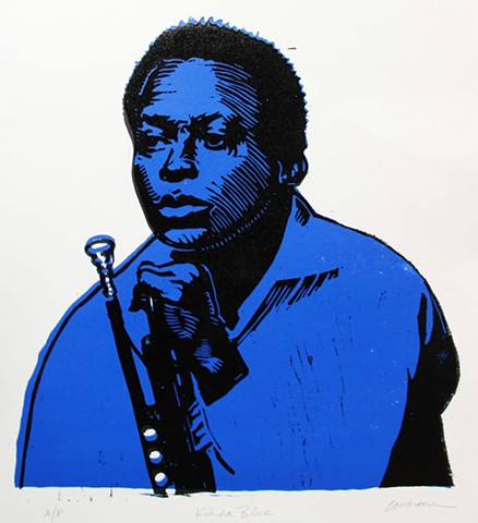 Two-color woodcut of young Miles Davis holding a trumpet