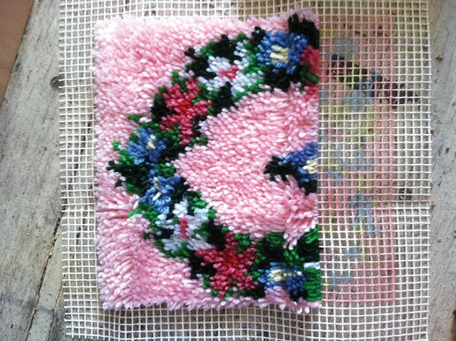 Unfinished Latch hook heart Rug