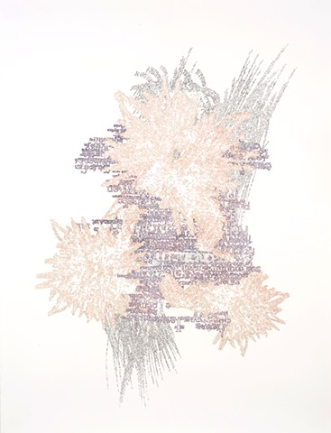 A drawing of words made into an abstract image.
