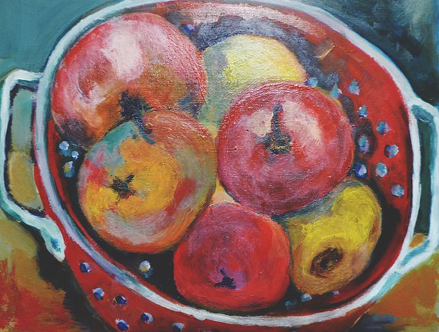 Apples in Red Colander