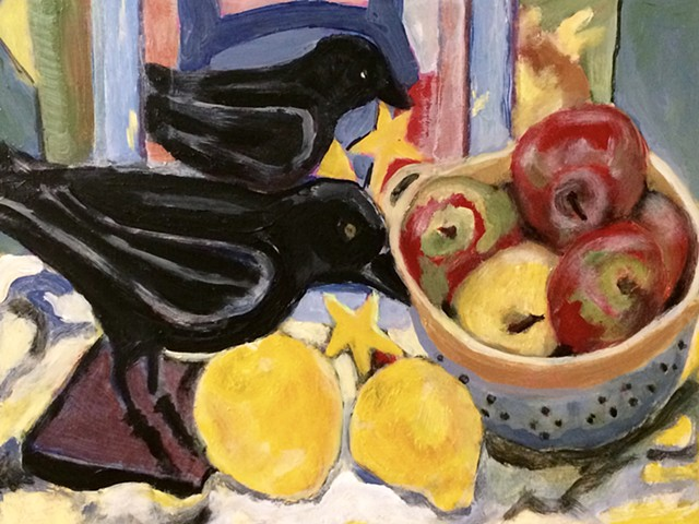Still Life with Bird, Lemons, & Apples