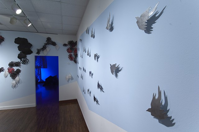 metal, birds, flocking, installation