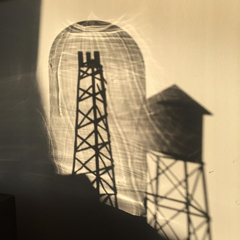 radio tower, cell tower, wood models, cast shadows
