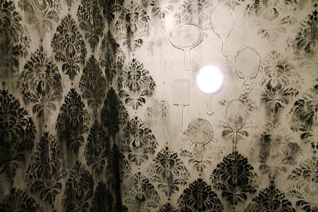 video sculpture with sound installation, kiln cast glass, projection, ashes wallpaper, damask, victotrian mourning, forest fires by Alice Pixley Young