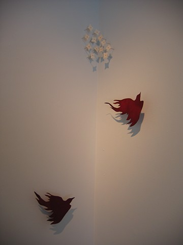dyed paper, burds, installation