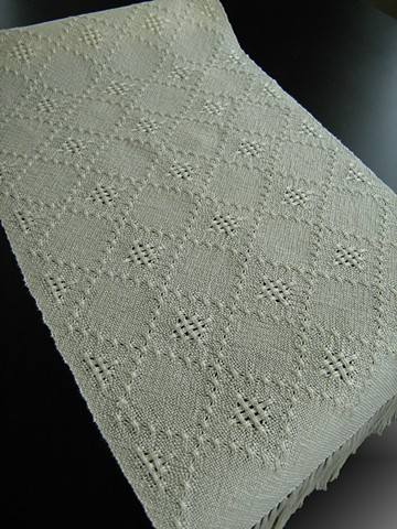 Handwoven lace table runner