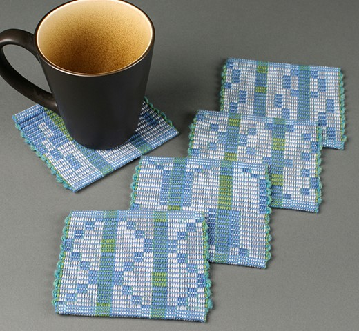 Mug rug coasters handwoven in warp rep