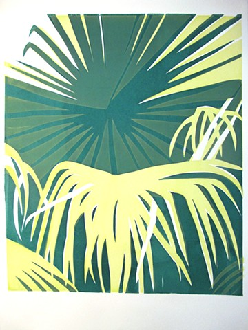 silkscreen, screen print, california fan palm