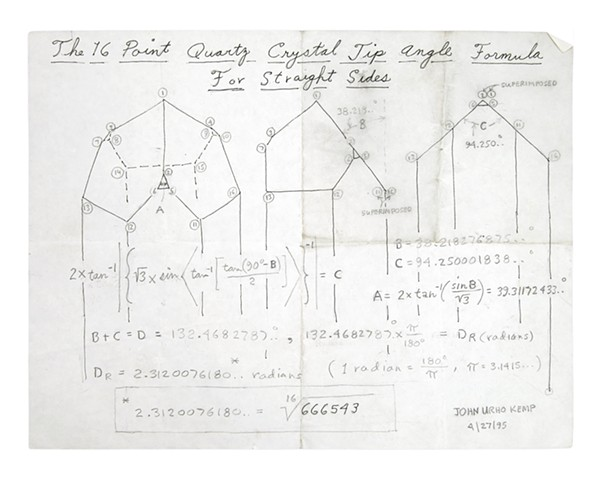 The 16 Point Quartz Crystal Tip Angle Formula for Straight Sides 4.27.1995