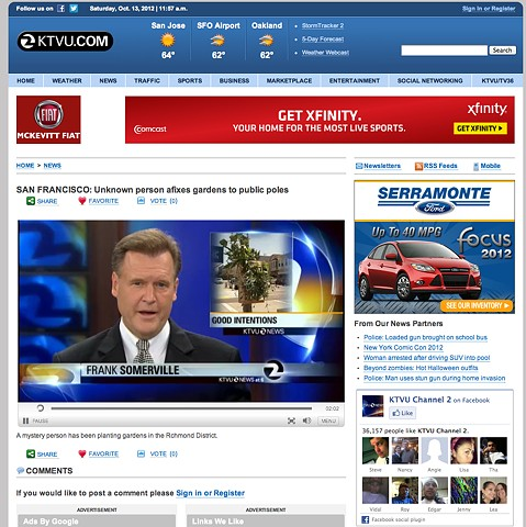 KTVU News Report For full story copy and paste this link: http://www.ktvu.com/videos/news/san-francisco-unknown-person-afixes-gardens-to/vdZn4/