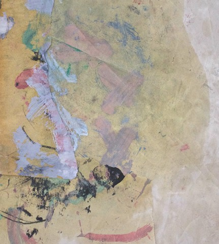 abstract contemplative drawing painting oil and paper