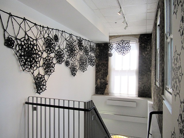 Doily Pattern and Black Lace (installation detail)