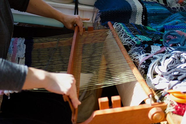 durational weaving project transforming cast-of clothes into useful objects.