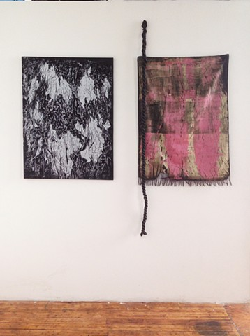 mono=rinted screenprints with rope