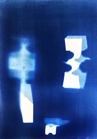 "Anvils. 2013. Cyanotype on BFK Rives. 22""x30""."