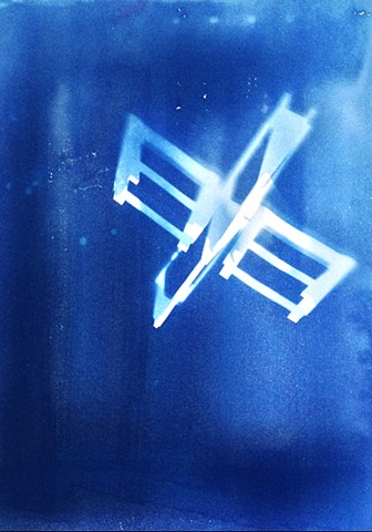 "Sawhorses. 2013. Cyanotype on BFK Rives. 22""x30""."