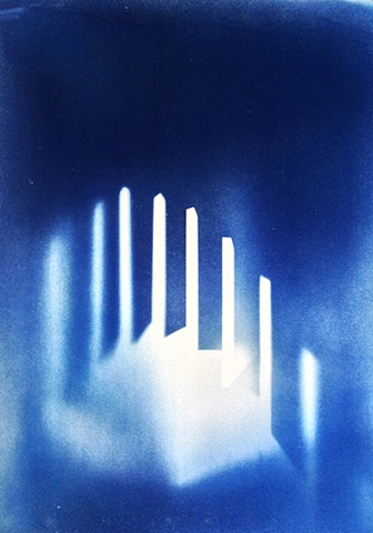 "Stairs. 2013. Cyanotype on BFK Rives. 22""x30""."