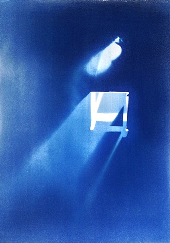 "Table. 2013. Cyanotype on BFK Rives. 22""x30""."